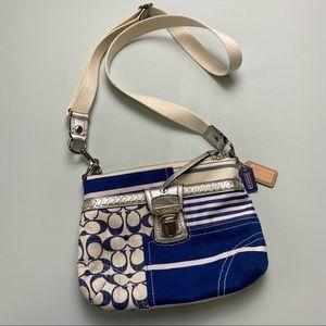 Coach blue/white stripe signature C crossbody bag
